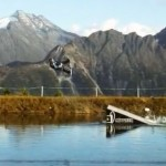 Bernhard Hinterberger wakeboarding in the Alps
